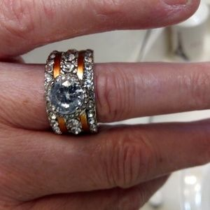 White sapphire ring with crystal accents